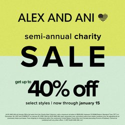 Up to 40% OFF ALEX AND ANI! It's the Semi-Annual Charity Sale through Jan 15th!