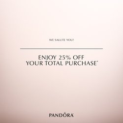 Military Discount: 25% OFF ENTIRE PANDORA PURCHASE Saturday, May 19th only!