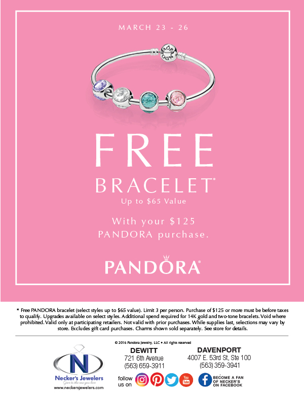 when is the next pandora free bracelet event necker s jewelers free pandora bracelet event is here 5318